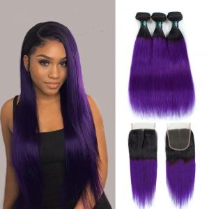 100% Brazilian Human Hair Straight (Purple)