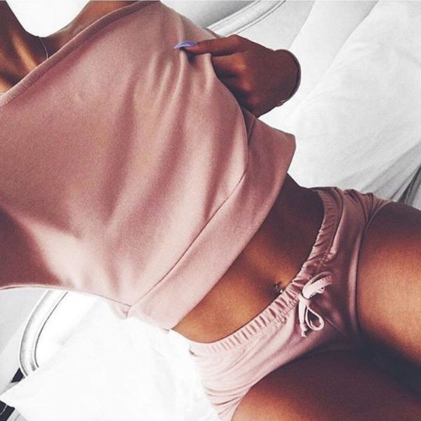 Cropped Tops Shorts Set 2 Pieces
