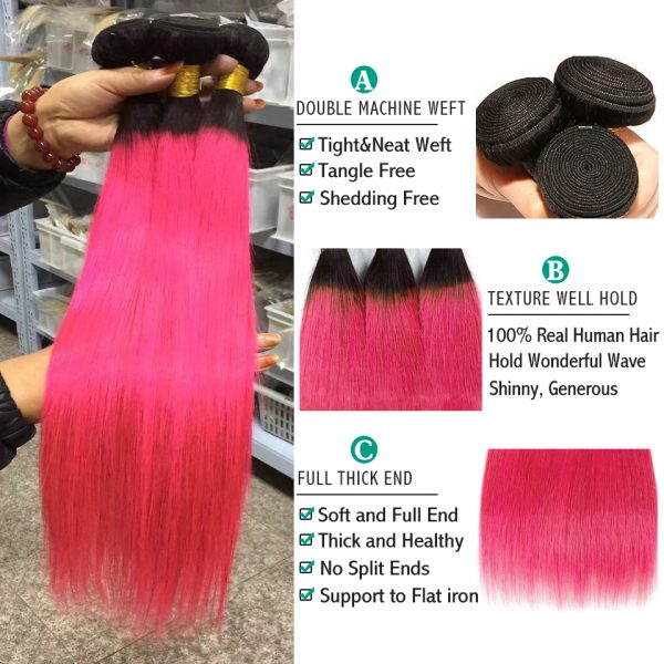 100% Brazilian Human Hair Straight (Pink)