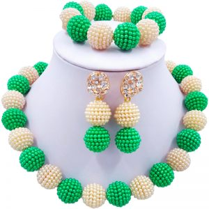 Nigerian Beaded  Wedding Necklaces Jewelry Set  w/ Simulated Pearl