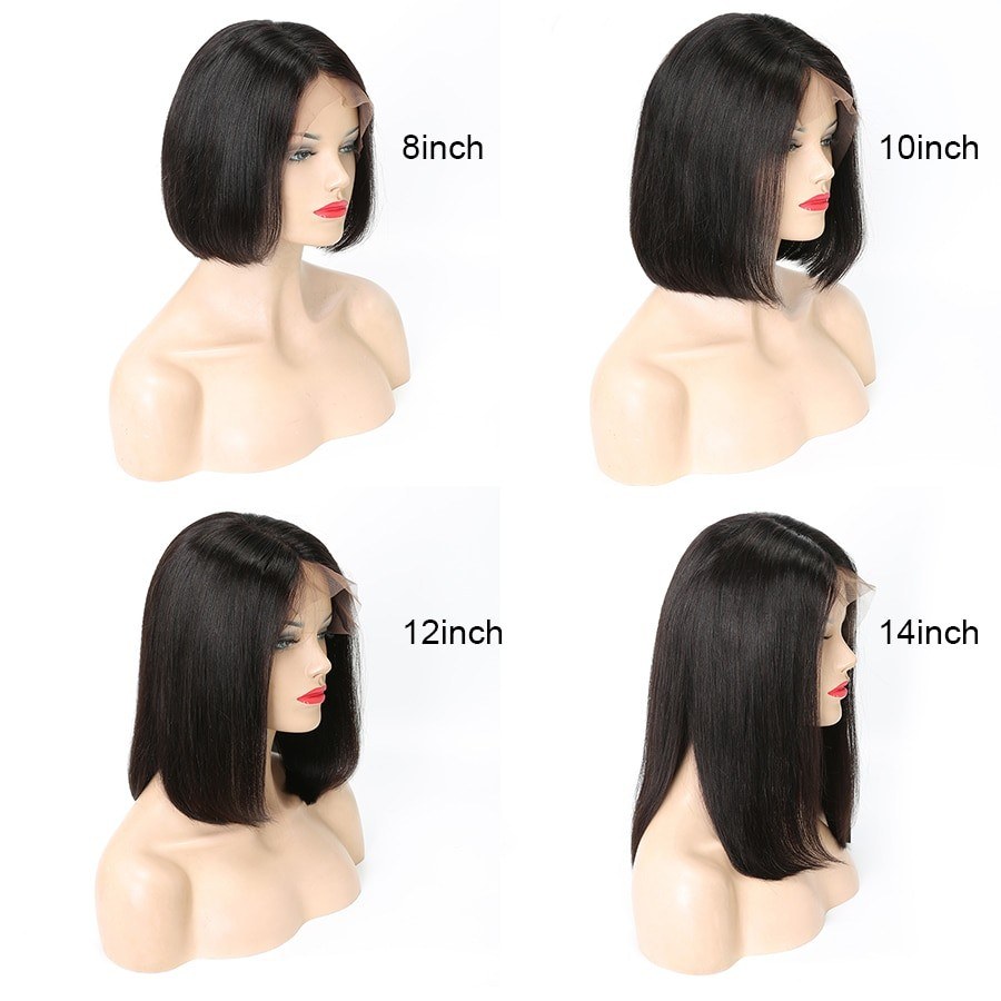 Beyo 13x6 Short Lace Front Human Hair Wigs For Black Women Lace Front Wig 150% Density Malaysian Straight Bob Wig Remy Hair