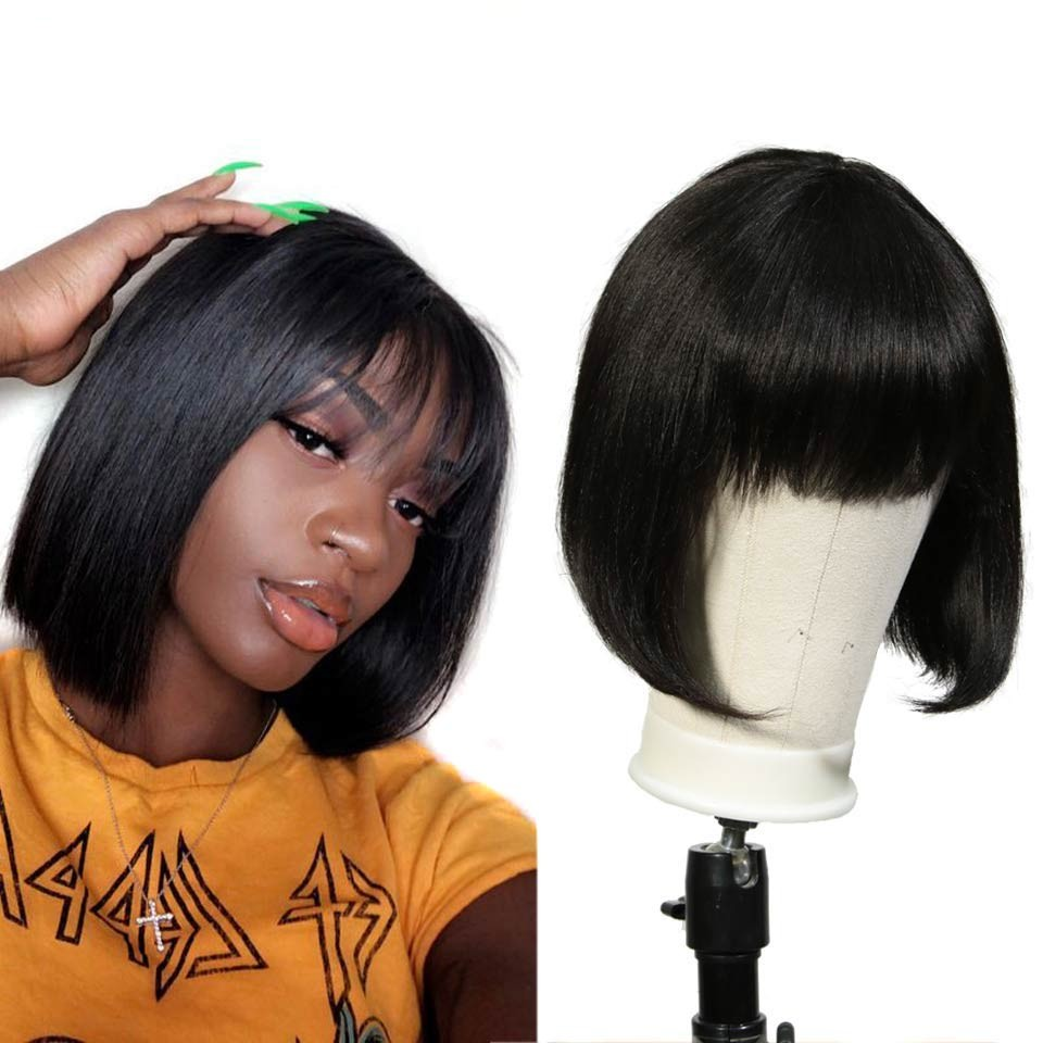 Rebecca Pixie Cut Bob Wig Peruvian Remy Straight Short Human Hair Wigs For Women Full Wig Ombre Red Blond Human Hair Bangs Wig