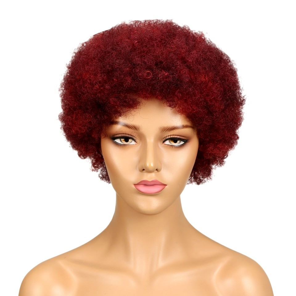 Rebecca Hair Cheap Wholesale Short Afro Kinky Curly Wig 100% Human Hair Kinky Curly Wigs For Black Women Dark Brown Red Color