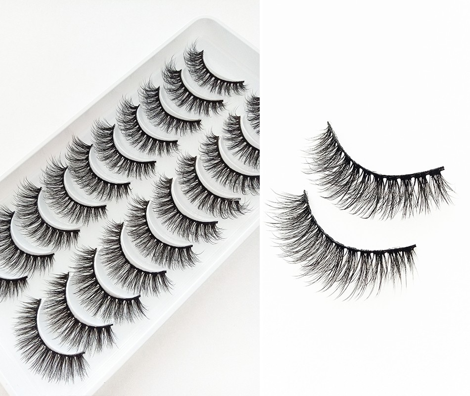 5/10Pairs HandMade Mink Eyelashes Makeup 3D Mink Lashes Natural False Eyelashes Long Eyelashes Extension 5 Pairs Fake Eyelash
