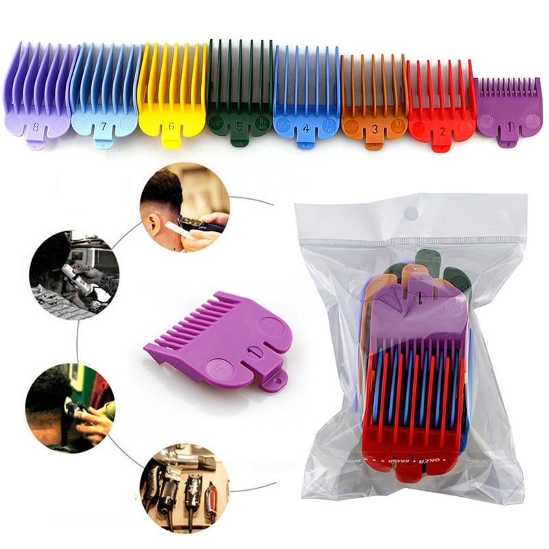 8pcs Pro Cutting Guide Comb Tonis Universal Hair Clipper Limit Comb Guide Attachment Size Replacement Hair Trimmers Set