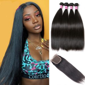 Brazilian Straight Hair Weave Bundles With Closure
