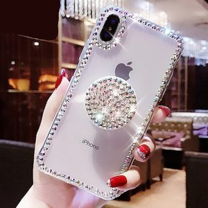 Bling Clear iPhone Case / Transparent Diamond Stand Holder Cases